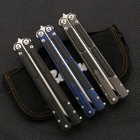 Wholesale cf steel for sale - Group buy High End Butterfly knife TC4 CF Handle KVT ceramic ball bearing S35VN stone wash SWING holder BENCHMADE BM781 SPIDER C81 knife