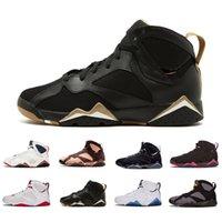 chandails de baseball pour hommes achat en gros de-GMP AirJordanrétro7 7s chaussures de basket-ball pour hommes 7 pull raptro formateurs de charbon de bois athlétique hommes baskets de sport 7-13