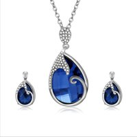conjuntos de jóias azul escuro venda por atacado-Mais recente liga de água gota colar brincos conjuntos de jóias de moda azul escuro jóias para presente de casamento 61172518