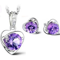 ingrosso set di orecchini viola delle collane-Silver Jewelry Sets Hot Sale Purple Zirconia Crystal Heart Pendants Necklace Stud Earrings for Girl Party Fashion Jewelry Wholesale 0046WH
