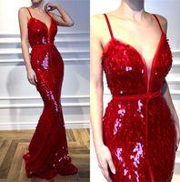 mermaid yay kırmızı elbise toptan satış-Kırmızı Pul Mermaid Abiye Spagetti Sapanlar Dantelli Bow Kanat Pageant Törenlerinde Balo Elbise BC2302