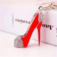 pingente de salto alto vermelho venda por atacado-Moda jóias Red Diamond High Heel sapatos chaveiros Mini mulheres Sapato De Cristal chaveiros bolsa pendurado Pingentes de Telefone Pingente