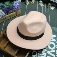 Wholesale wide brim black hat women resale online - Fashionable New Vintage Women Mens Fedora Felt Hat Ladies Floppy Wide Brim Wool Felt Fedora Cloche Hat