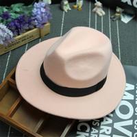 kadın yünü keçe klişe şapkaları toptan satış-Wholesale-2018 Moda Yeni Vintage Kadınlar Erkek Fedora Şapka Bayanlar Hissettim Disket Geniş Ağız Yün Fedora Cloche Şapka Hissettim
