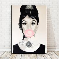 audrey hepburn posters al por mayor-1 pieza Audrey Hepburn Mujer Pósters e impresiones nórdicas Arte Pintura en lienzo Moderno Decoración del hogar Fotos de pared Sin marco