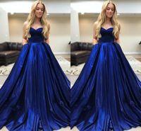 синие платья выпускного вечера 8-го сорта оптовых-Темно-синий Сладкий 16 Платья бальное платье 2019 Простое атласное без бретелек на шнуровке Ruched Платье Quinceanera Платья для выпускного 8-го класса Вечеринка Формальные