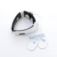électrodes électroniques achat en gros de-Cou électrique Cou Traction cervicale Thérapie Masseur Chauffage Massage vibrant + Massage corporel à impulsions électroniques Coussinets d'électrode