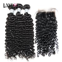 Wholesale remy human hair weft weave resale online - Mongolian Curly Virgin Human Hair Weaves Bundles with Lace Closures A Mongolian Deep Jerry Curly Remy Hair Extensions Natural Color