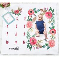 ingrosso foto coperta di neonati-Ins Baby Girl Boy Fotografia Coperta Boutique negozio forniture Floral Neonato Fotografia Mat Mesi Foto Coperte Accessori 2019