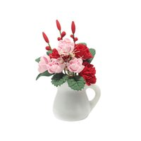 Wholesale miniature wedding flowers for sale - Group buy 1 Dollhouse Miniature Vibrant Clay Plant Carnation Flower In Ceramic Flower Vase Dollhouse Accessory As Shown