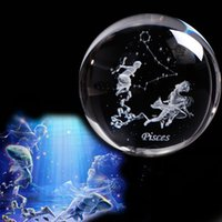 ingrosso zodiaco 3d-Fantastic Glass 3D Pisces Ball Decorazione della casa Regali dello zodiaco per gli amici sulla festa di compleanno Oroscopo Regali eccellenti alla festa