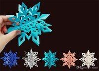 karton hängen groihandel-Karton 3d hohl schneeflocke hängen ornamente neujahr weihnachtsschmuck 6 teile / satz für home party dekoration
