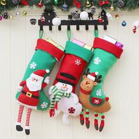 ingrosso lunghe gambe di calze-59 * 22cm Gambe Rosso Verde Christmas Stockings fumetto lunghi Borse della bambola del regalo di natale di Natale Hanging Stocking Xmas Tree Ornament 30 Pezzi DHL