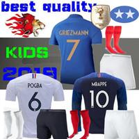 xxl uzun kollu gömlek toptan satış-1919 2019 İki yıldız 2 GRIEZMANN MBAPPE Çocuklar Fransa futbol forması erkek çocuk Yüzüncü Yıl POGBA Uzun kollu futbol gömlek maillot de ayak 19 20