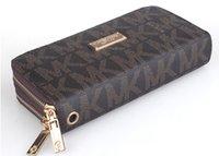 porte-monnaie à double fermeture à glissière achat en gros de-2019 mode gros double fermeture à glissière designer de luxe dames pu portefeuille en cuir dames pochette sac à main AAA +