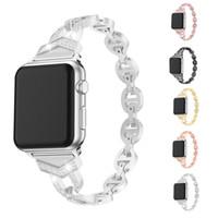 ingrosso orologio bracciale bling-Cinturini di ricambio in acciaio inossidabile di lusso per Apple Watch 38mm 42mm Bling Diamond Bracciale cinturino in metallo con fibbia per serie Iwatch 4 3 2 1