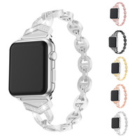 Wholesale luxury watches transparent resale online - Luxury Stainless Steel Replacement watch bands for Apple Watch mm mm Bling Diamond Bracelet Metal Buckle Strap For Iwatch series