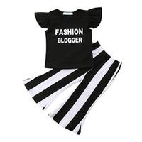 черная рубашка для девочки оптовых-Одежда для девочек Черная рюшами с коротким рукавом Модные топы с надписью Blogger Letter Черно-белые полосатые брюки-белли с брюками Комплект футболки