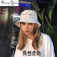 yaz şapkaları kore toptan satış-Erkekler Kadınlar Kepçe Şapkalar Japonya ve Kore Sokak Stili Harajuku Mektupları Akıntıları Lace Up Cap Bayanlar Yaz Güneş Hat yazdır
