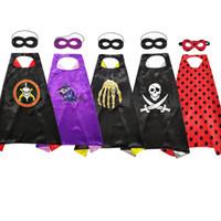 Wholesale funny cartoon masks resale online - Halloween Capes mask sets cosplay Costumes cartoon skull pirate animation hero cape Children Funny Halloween cape Mask LJJA2770