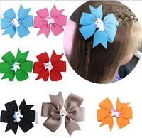 Wholesale clip hairbow online - 40 COLORS Unicorn Pinwheel Hair Bows Hairbow Clips Baby Toddler Girls Hair Accessories Grosgrain Dovetail Hair clips Hairpins