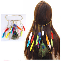 Wholesale feather leather hair for sale - 6 styles Bohemian Peacock Feather Hair Band Women s Fashion National Wind Elegant Boutique Headpiece Hair Accessories