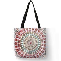 ingrosso tessuti di lino-Mandala Flower Fabric Tote Bags For Women Borsa riutilizzabile in ecopelle per shopping Borse pieghevoli con stampa floreale per Lady Traveling Beach