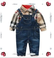 Wholesale shirts suspenders resale online - Baby Boys Clothing Brand tag Tops Trousers Sets Toddler Boys Plaid Shirt Denim Suspender Pants Set Infant Suit Kids Outfits