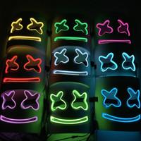 weiße partymaske großhandel-10 Farben DJ Marshmallow Licht Maske Modische Halloween Party Nachtclub EVA Weiße Maske LED Cosplay Helm Requisiten