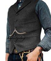 ingrosso abito da festa su misura-Suit 2019 fattoria marrone sposo gilet di lana a spina di pesce Tweed maglia sottile degli uomini adatti per la promenade Country Wedding Dress Gilet Tailor Made Plus Size