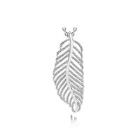 Wholesale sterling feather pendant resale online - NEW Sterling Silver Brand New Genuine Charm CZ Feather silver pendant with clear cubic zirconia Jewelry