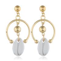 ingrosso grandi orecchini di conchiglia-Orecchini di conchiglia di mare per le donne oro argento colore grande orecchino di metallo shell orecchini orecchino gioielli estate spiaggia