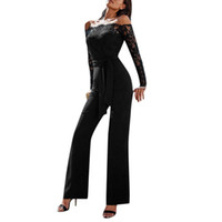 плюс мужские комбинезоны для женщин оптовых-Womail jumpsuits for women 2019 Casual Off Shoulder Lace Jumpsuit Backless With Belt Bodysuit plus size body suits for women