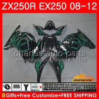Wholesale kawasaki ninja online - Body For KAWASAKI NINJA green flames EX ZX R ZX250 R EX Kit HC EX250 ZX250R Fairing