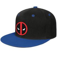 traje azul deadpool venda por atacado-Deadpool logo Vector vermelho preto azul dos homens e das mulheres de beisebol plana brim cap design designer personalizado legal equipado costume moderno original plana br