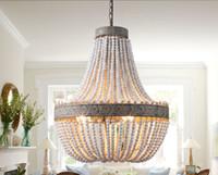 moderna iluminación colgante rústico al por mayor-Retro loft vintage rústico perlas de madera colgante lámpara E27 led lámpara colgante decoración luces modernas para sala de estar cocina del hotel