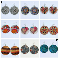 Wholesale ethnic designs for sale - Group buy ethnic print fabric detail handpainted handmade unusual large wood wooden teardrop drop dangle earrings for pierced ears of designs