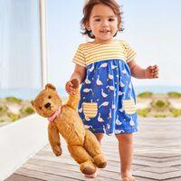 yenidoğan külot toptan satış-Yenidoğan Bebek Kız Takım Elbise Yaz Kısa Kollu Yuvarlak Yaka Karikatür Baskı Elbise Yumuşak Külot İki parçalı Tasarımcı Seti 48