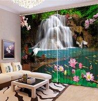 cortinas brancas de cachoeira venda por atacado-Lotus branco orvalho e cachoeira Chinês Personalizado 3D Blackout Cortina Sala de estar Quarto Hotel cortinas Da Janela