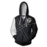 fantasie männer kostüm großhandel-Spiel anime Final Fantasy hoodie Sweatshirt 3D mit kapuze mäntel kostüm frauen männer 3D Reißverschluss jacke Dünne Sweatshirts Mantel