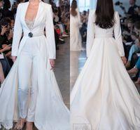boyut 18w gece elbiseleri toptan satış-Berta Beyaz Gelinlik Tulumlar Uzun Kol Saten Uzun ceketler Abiye Giyim Artı boyutu elbiseler de soirée Pantolon Parti Elbise Takımlar