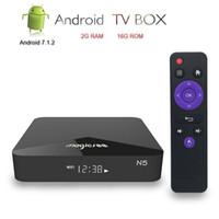 caja de tv android 2 gb ram al por mayor-MAGICSEE N5 Android 7.1 TV Box Amlogic S905X 2GB RAM 16GB ROM 2.4G 5G WiFi 100Mbps BT4.1 Soporte 4K IPTV Media Player