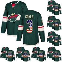 parise usa hockey jersey großhandel-Minnesota Wild Leafs USA-Flagge Jersey3 Charlie Coyle 21 Eric Fehr 11 Zach Parise 17 Marcus Foligno 40 Devan Dubnyk Hockey-Trikots