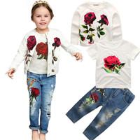 Wholesale jeans clothing shirt online - Retail girls boutique outfits summer pants set Children floral coat T shirt sequin jeans baby tracksuit suits set kids designer clothes