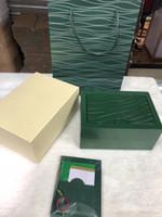 lüks ahşap saatler toptan satış-ROLEX Için en Lüks Erkek İzle Ahşap Kutu Orijinal İç Dış kadının Saatler Kutuları Kağıtları Hediye Çantası Erkekler Saatı kutusu