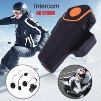 ingrosso citofono auricolare-Hot BT-S2 1000m Casco moto Auricolare Bluetooth Interfono moto Interphone impermeabile Comunicazione casco moto Inter Bluetooth
