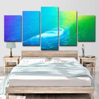 abstrakte gemälde wellen großhandel-5 Stücke Bunte Rollende Welle Decor Abstrakte Gemälde Wohnzimmer Wandkunst HD Drucken Leinwand Malerei Mode Hängen Bilder