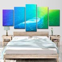 ingrosso pitture astratte onde-5pcs colorato rotolamento onda Decor quadri astratti soggiorno wall art HD stampa su tela pittura moda appendere le immagini