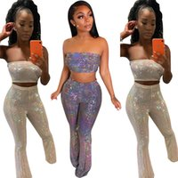 Wholesale hot seling for sale - Group buy Women sexy two piece set strapless backless crop top bodycon long pants designer summer clothing fashion leggings suit hot seling