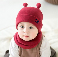 Wholesale baby boy crochet hats patterns for sale - Group buy Unisex Children Little Snail Crochet Knitted Caps And Scarf Winter Warm Earflap Suit Set Baby Toddler Warm Kids Cute Pattern Beanies Hat Set